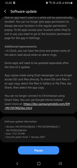 Galaxy M21 Android 11 Update