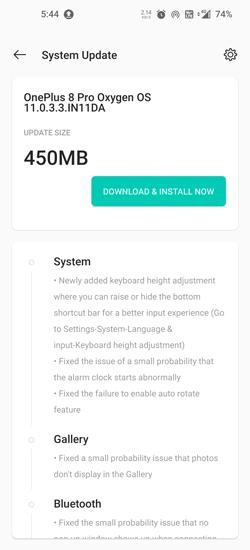 OnePlus 8 Pro OxygenOS 11.0.3.3 Update