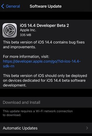 iOS 14.4 Beta 2 Update
