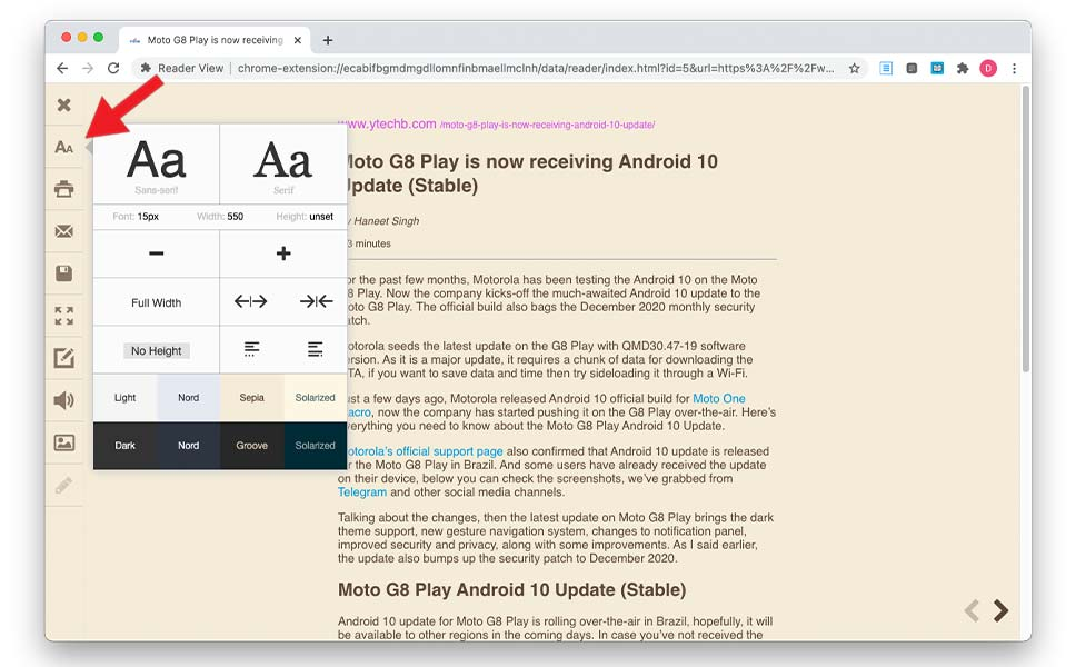 How to enable reader mode in chrome on mac