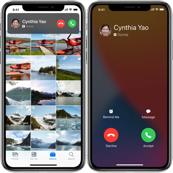 how to enable full screen incoming call on iphone