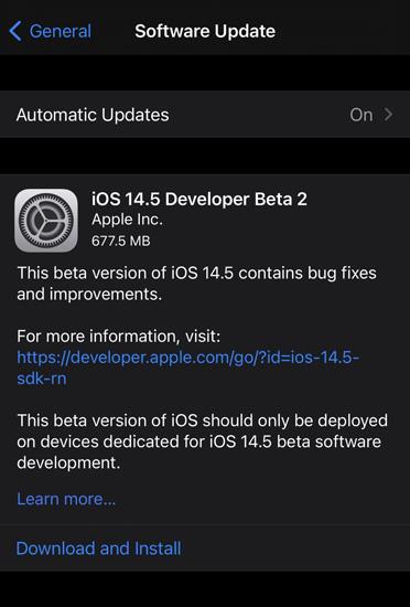 iOS 14.5 Beta 2 Update