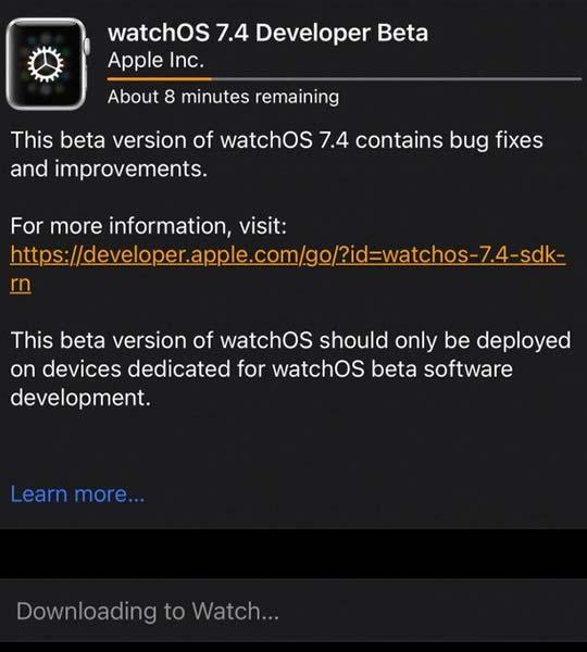 watchOS 7.4 Beta Update