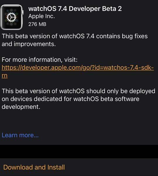 watchOS 7.4 Beta 2 Update